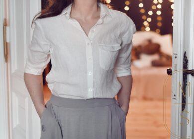 Baza: biała lniana koszula